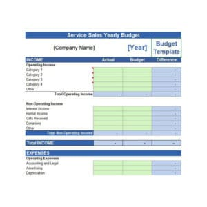 Free Business Yearly Budget Template