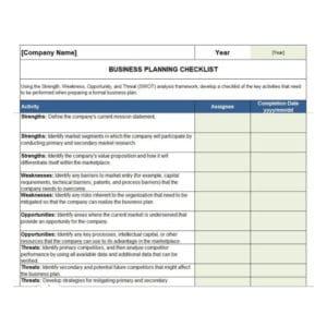 Free Business Plan Checklist