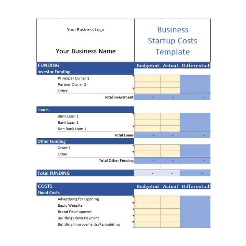 free start-up budget template